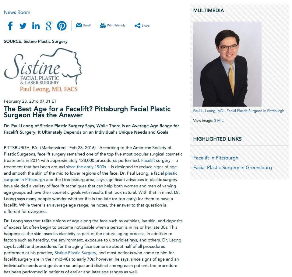 Facelift Surgery - Paul Leong MD, Plastic Surgeon Pittsburgh
